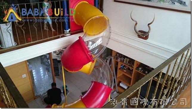 BabyBuild 住宅樓中樓透明管狀螺旋滑梯完工