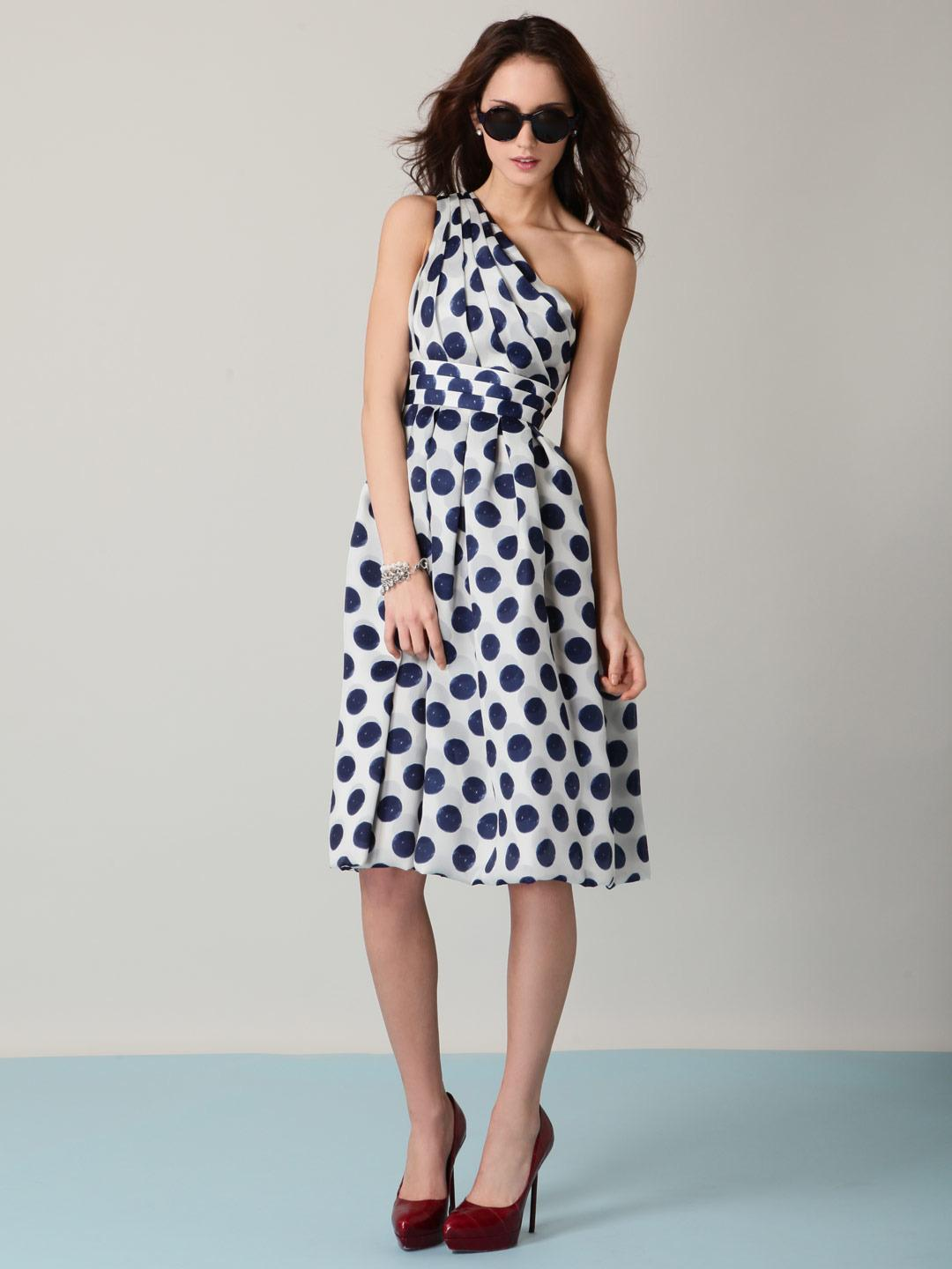 Blue and white polka dot