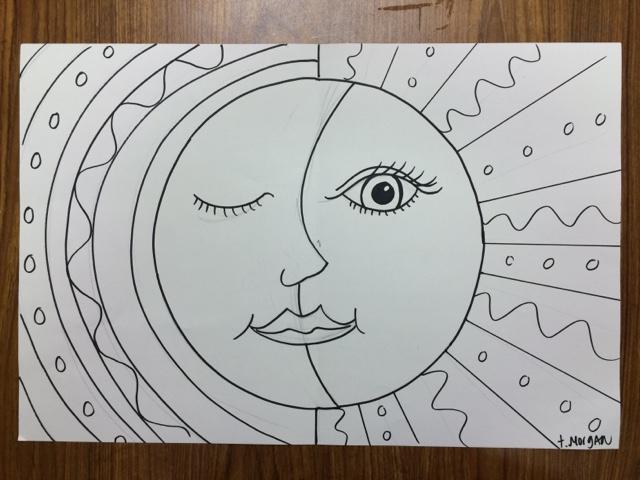 Line Art Of Sun : The lost sock : hot sun & cool moon