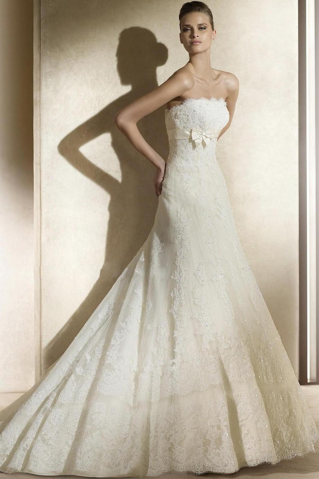 Floor Length Strapless Natural Waist A-Line Wedding Dresses aw047
