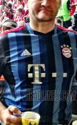 Bayern Munich shirt 2014 3rd kit blue and black stripes adidas
