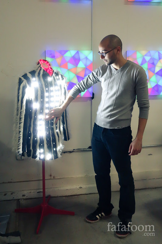Murat Ozkan of Zachees showing his interactive LED light coat