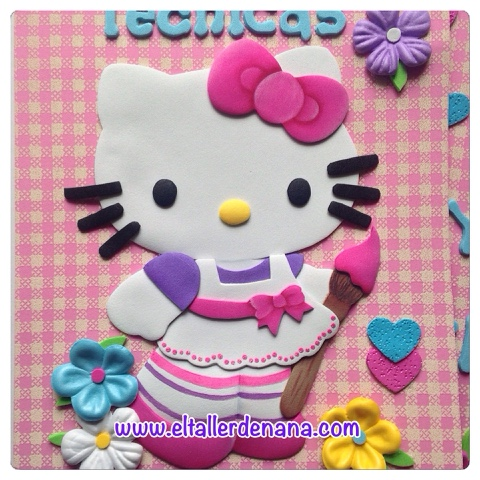 El Taller de Nana: Carpeta en foami - Hello kitty