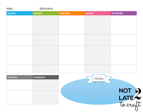 Not 2 late to craft: Feliç any nou i planificador setmanal imprimible / Happy new year and free weekly planner printable