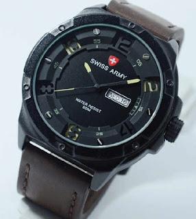 jam tangan Swiss Army SA0490MB Darkbrown leather yellow dial