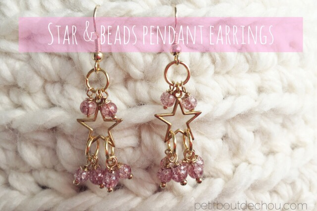 Star and beads pendant earrings DIY pink crackle glass beads