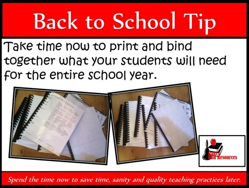 Back to School Tip - Take time now to print and bind together what your students will need for the entire school year. This helps your save time, sanity and quality teaching practices later. Suggestions from Raki's Rad Resources