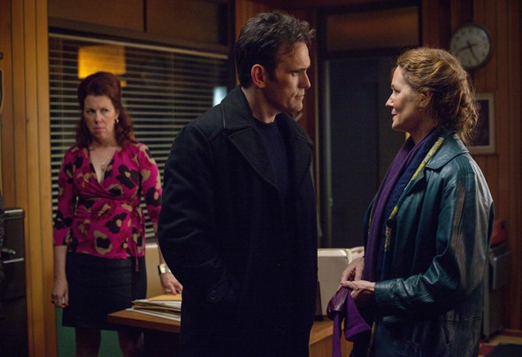 WAYWARD PINES:  Pictured L-R:   Siobhan Fallon Hogan, Matt Dillon and Melissa Leo.  WAYWARD PINES is set to premiere Thursday, May 14 (9:00-10:00 PM ET/PT) on FOX.  ©2015 Fox Broadcasting Co.  Cr: Ed Araquel/FOX.