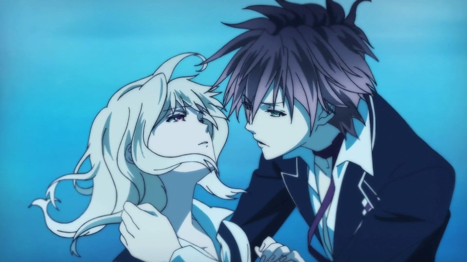 Dramatic romantic shot of Ayato reaching for Yui's entranced face all in cool blue tones