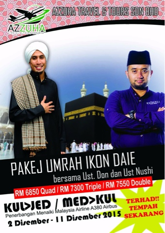 Pakej Umrah Ikon DAIE bersama Ustz Don dan Ust Nushi
