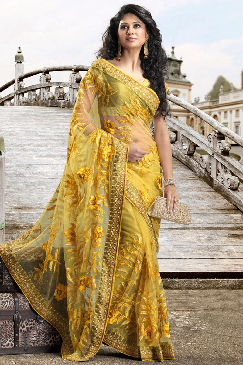 Yellow Wedding and Festival Net Embroidered Saree   131.00 yellow wedding