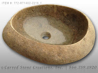 Natural Boulder - Stone Vessel Sink, Light, Unrimmed