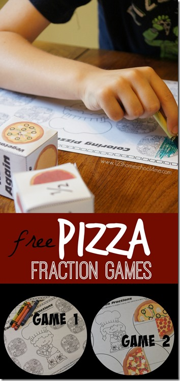 FREE Pizza Fractions Game - there are two different games to help kids learn and have fun practicing fractions! Such a fun math center, math practice, math game for homeschool, summer learning, extra practice and more for first grade, 2nd grade, 3rd grade, 4th grade.