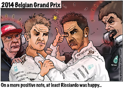 схвата Нико Росберга и Льюиса Хэмилтона - комикс Bruce Thomson по Гран-при Бельгии 2014