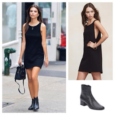 Emily Ratajkowski Refromation Arly Black Mini Dress and Studded Ankle Boots