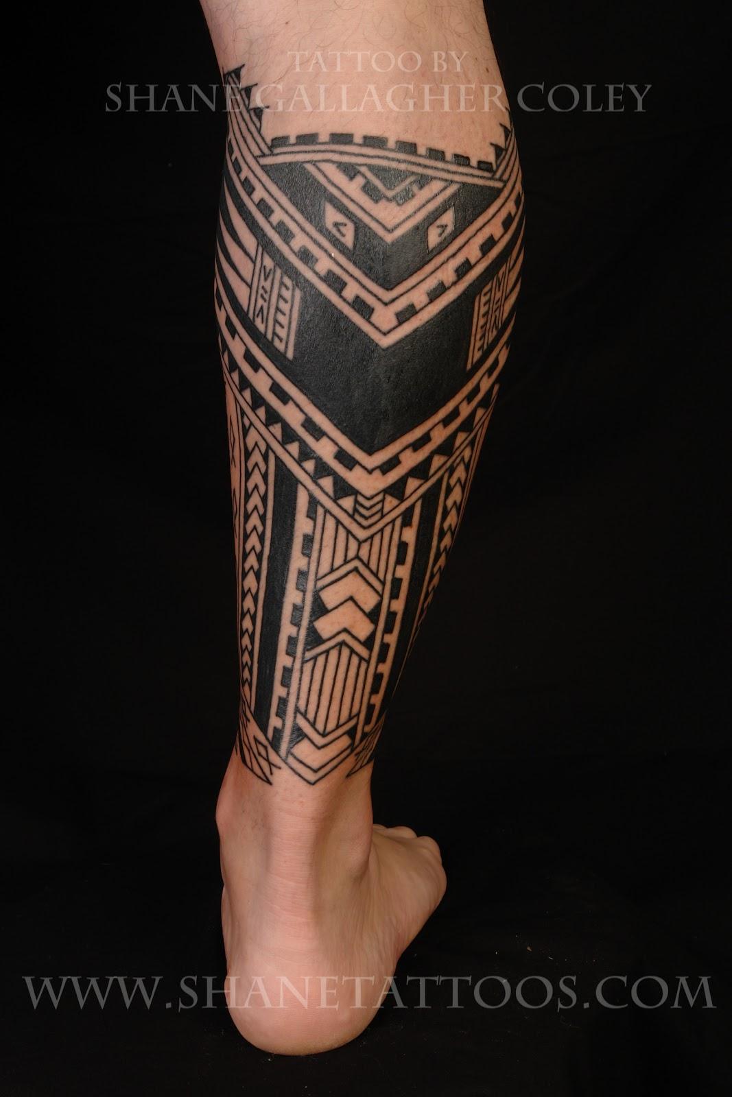 Polynesian/Samoan Calf Tattoo