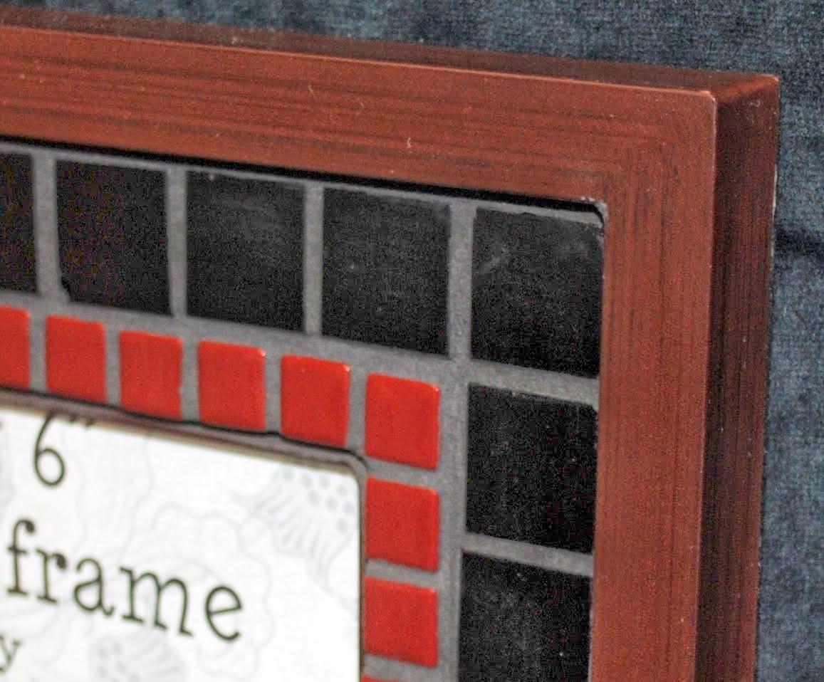 "Maroon & Black Simple 4"" x 6"" Mosaic Photo Frame MOF1383"