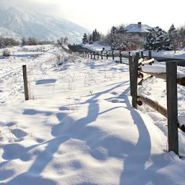 Snow Fence by Tony Huffaker - City,  Street & Park  City Parks ( fence, wooden, snow, rail, granite park,  )