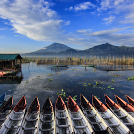 We Racing to Go to Fishing  by Franciscus Satriya Wicaksana - Landscapes Waterscapes ( water, clouds, mountains, sky, racing, boats, lake, landscape, people )