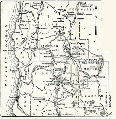 Map of McCloud Railroad