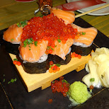 incredible salmon sushi with giant fish eggs in Tokyo, Tokyo, Japan