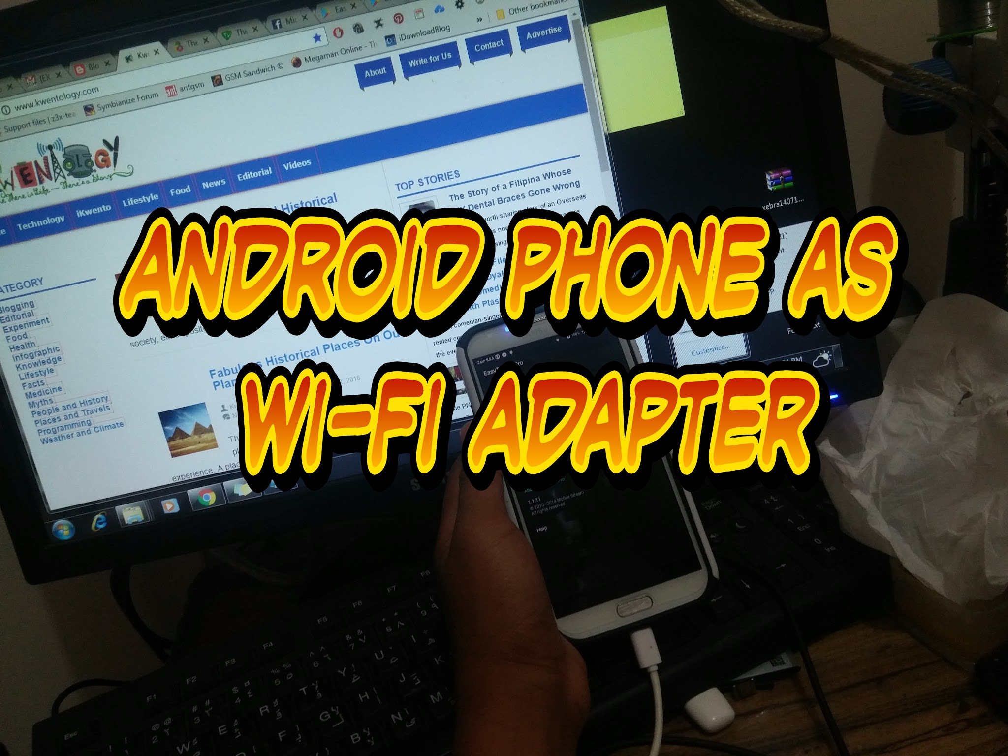 Image of How do you tether your phone to your computer? How can I share Internet from my Android phone to laptop? How can you use the Internet from your phone to your computer? How do you use your phone as a hotspot? How To Use Android Phone As Wi-Fi Adapter. wi fi - Can I use my Android device as Wi-Fi Adapter for my PC? Can i use my android phone as a wifi adapter for my computer? Can my phone replace a WiFi adapter to connect my PC to my router? Use Your Android as a WiFi Dongle / Wifi Adapter to Access internet. Tethering my phone to PC for internet. How To Turn Your Android Phone Into Wireless USB Adapter. Use Android phone as wireless adapter for Ubuntu desktop, use android as wifi router, how to use iphone as wifi adapter