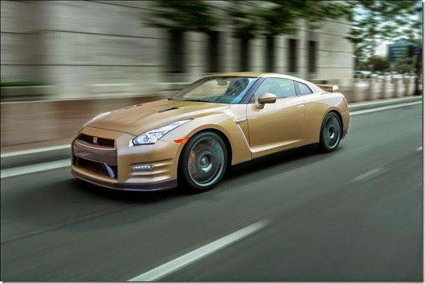 "The 45th Anniversary Gold Edition, built off of the GT-R Premium model, commemorates the GT-R's long heritage of world-class high performance. Featuring a special gold paint color, the limited edition model also includes a special gold-tone VIN plate located inside the engine compartment and a special commemorative plaque on the interior center console. The paint color itself is the same ""Silica Brass"" color that marked the 2001 Skyline GT-R M-Spec (R34 Type). Fewer than 30 of these special GT-Rs are slated for the United States market."