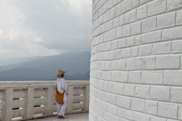 A monk at World Peace Pagoda, Pokhara, Nepal