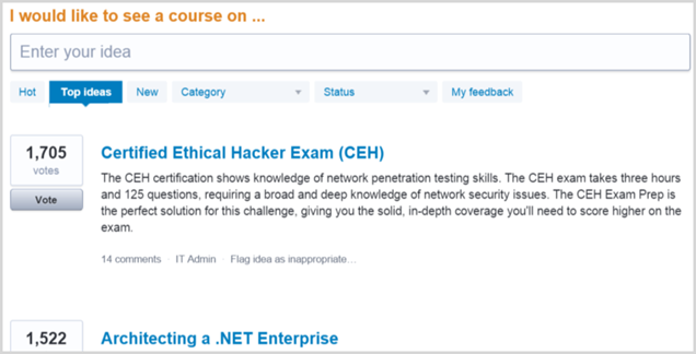CEH is the most requested Pluralsight course