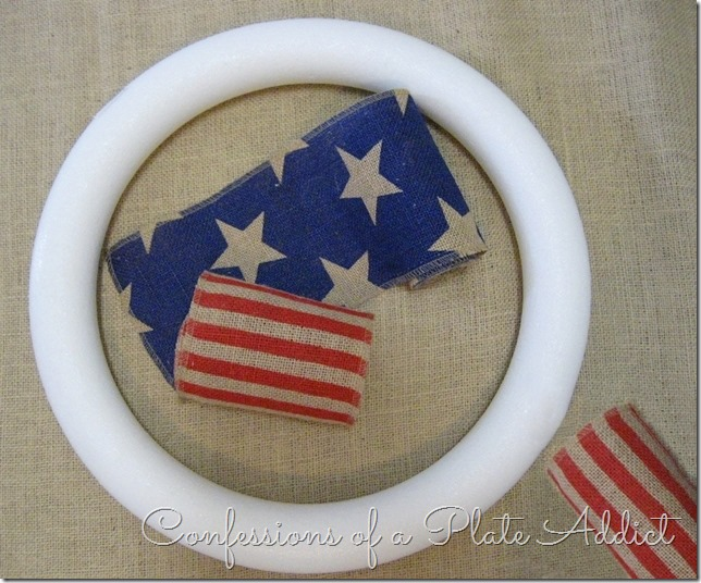 CONFESSIONS OF A PLATE ADDICT Easy Stars and Stripes Burlap Wreath...Just Tie It! Supplies