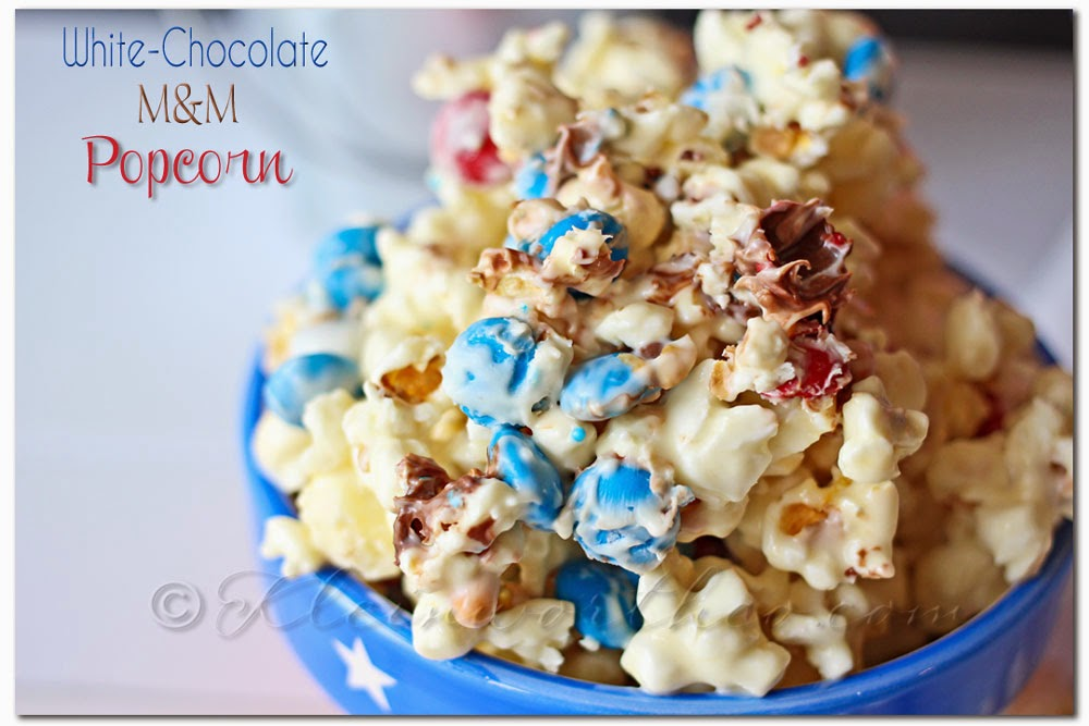 White Chocolate M&M Popcorn