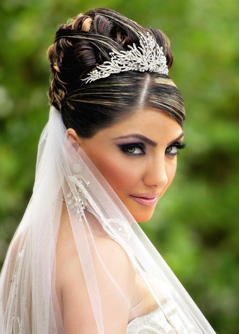 Wedding updos with veils