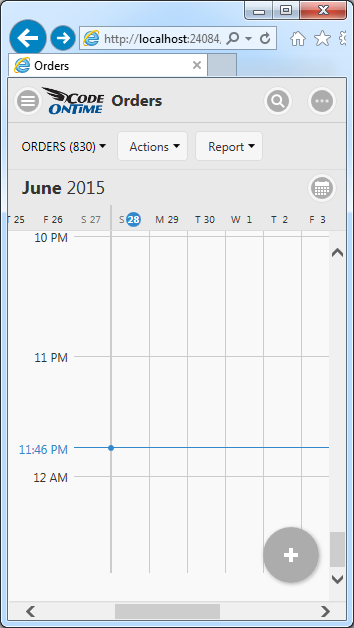 Week mode of Calendar view style in Touch UI on a small screen