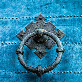 The Door by Andrei Ciuta - Buildings & Architecture Public & Historical ( abstract, ring, detail, ancient, blue, metal, metal work, texture, door, castle, knob )