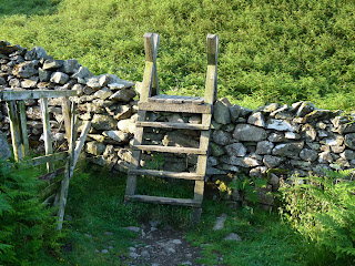 A stile on the top of High Rigg.