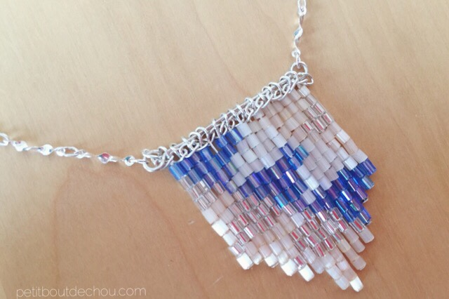 beaded necklace with triangles pattern and sterling silver chain