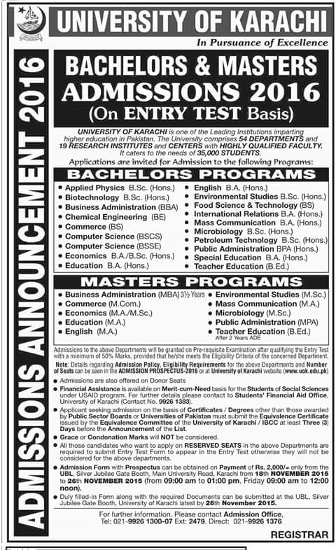 University Of Karachi Admission 2016 Announced Shehar E