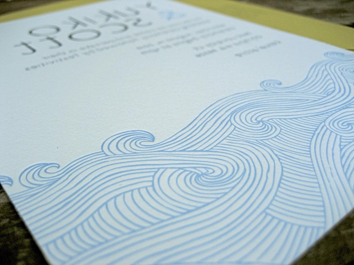 Waves Letterpress Wedding