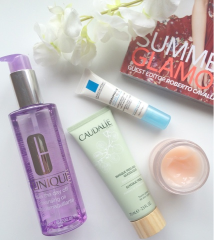 Clinique Take The Day Off Cleansing Oil, Caudalie Glycolic Peel Mask, Clinique Extended Thirst Relief moisturiser, La Roche Posay