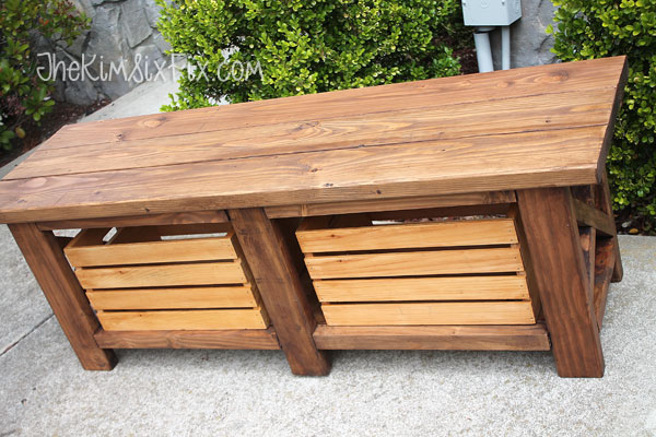Wooden crate storage bench