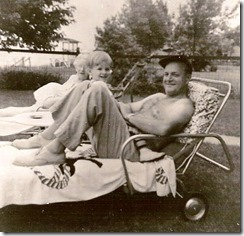 GOULD_Harry Norman Sr with his son Harry Norman II and Marie Lindsay Gould sitting on a lawn chair at Lake Huron_circa 1954