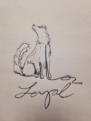 97 Hearts loyal dog drawing