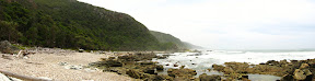 Here's a panorama at one of the rocky beaches along the way.