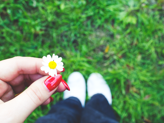 Daisy. Red nails. Jeans. | Lavender & Twill