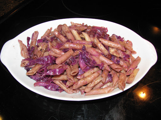 Penne with Cabbage, Bacon and Currant Sauce