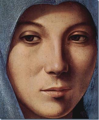Antonello da Messina Maria of the Annunciation, Detail face of Mary