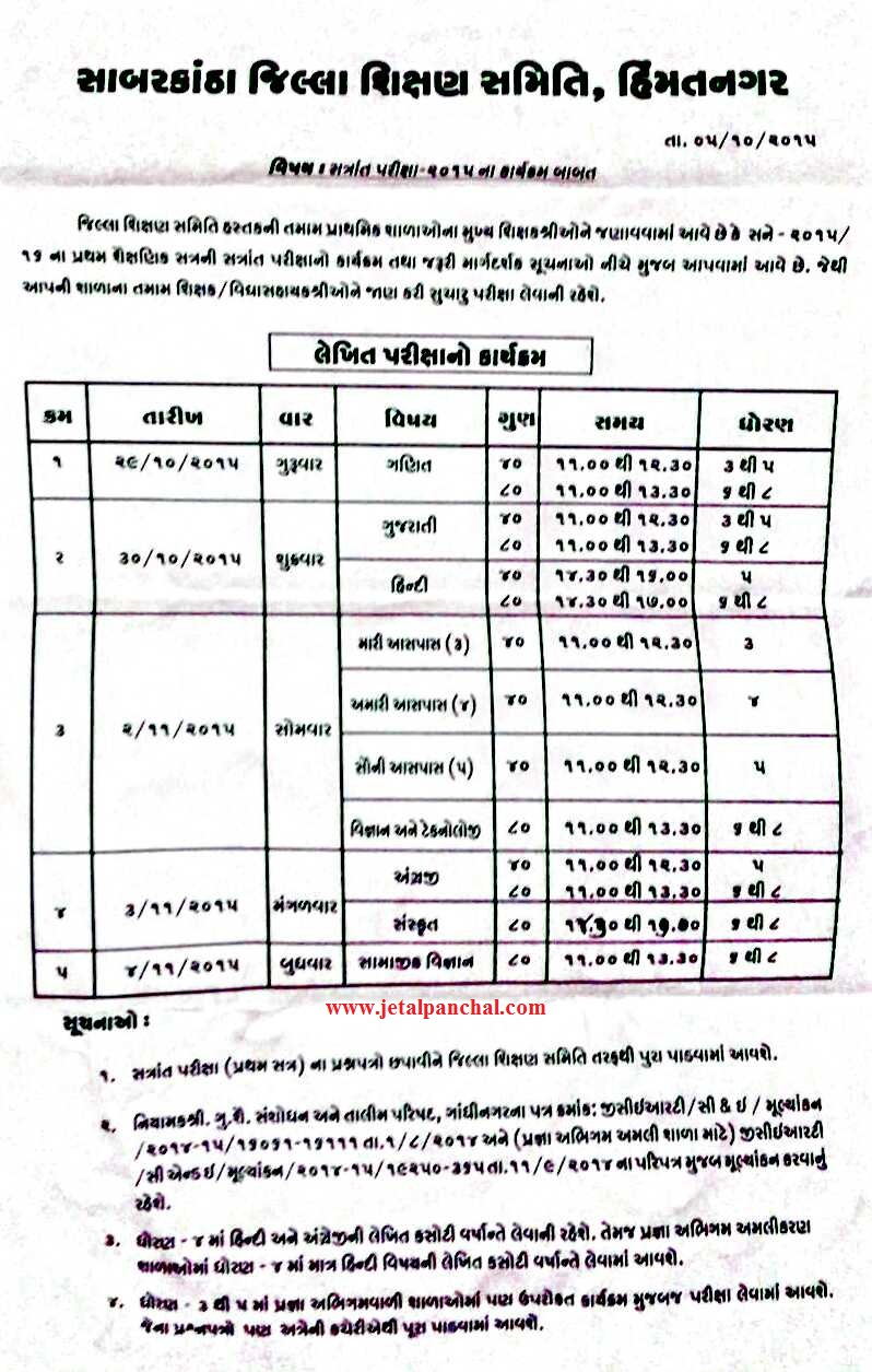Sabarkantha first semester exam time table babat date 5 for Rgpv timetable 7th sem 2015