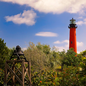 Bell at Jupiter Inlet Lighthouse by Fran Gallogly - Artistic Objects Other Objects ( clouds, fresnal, bell, florida, lighthouse, jupiter, garden, pwcbells, light )