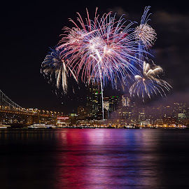 San Francisco Fireworks by Eva Lee - Abstract Fire & Fireworks ( water, building, skyline, reflection, eve, ca, colorful, new year, california, beautiful, sf, bay area, bay bridge, party, city, lights, bay, red white blue, dark, fireworks, july 4th, night, celebration, san francisco, waterfront )