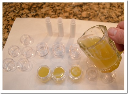 making honey lip balm